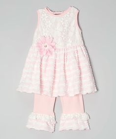 Look at this #zulilyfind! Pink Basket Lace Tank & Ruffle Leggings - Infant, Toddler & Girls #zulilyfinds