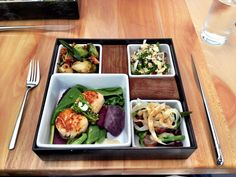 Lunch at Cerulean restaurant inside The Alexander Hotel offers local veggies and…