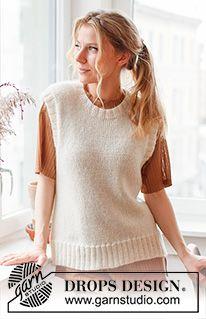 Rose Blush / DROPS 212-44 - Gratis strikkeoppskrifter fra DROPS Design Drops Design, Knitting Patterns Free, Knit Patterns, Free Knitting, Crochet Cardigan, Knit Crochet, Drops Kid Silk, Magazine Drops, Knit Vest Pattern