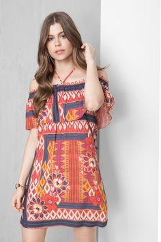 vestido ombro a ombro estampado pano | Dress to