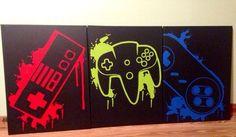 Video Game Controller kunst van ControlFreakGameArt op Etsy