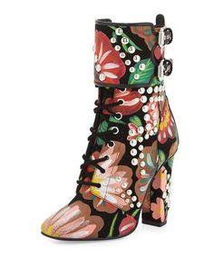 GIUSEPPE ZANOTTI Floral-Print Leather Lace-Up Boot, Black. #giuseppezanotti #shoes #flats