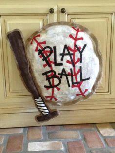 Burlap Sports Balls Painted and Sewn.. $40.00, via Etsy. Burlap Projects, Burlap Crafts, Burlap Wreaths, Wood Projects, Baseball Coach Gifts, Baseball Stuff, Burlap Baby, Painting Burlap, Burlap Door Hangers