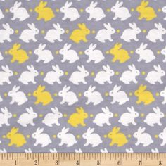 Flannelland Bedtime Bunny Grey/Yellow from @fabricdotcom  For David Textiles…