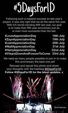 We directioners are going to do the one direction appreciation days for our boys again this year! #SpreadTheWord
