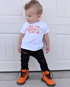 all the ghouls love me boy Halloween shirt ghost shirt toddler Halloween tee funny Halloween shirt Halloween outfit cute Halloween My Style Baby Outfits, Outfits Niños, Toddler Outfits, Kids Outfits, Fashion Outfits, Style Fashion, Fashion Wear, Halloween Shirts For Boys, Cute Halloween