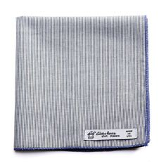 Glass House shirtmakers Reclaimed Gray White Double-sided Organic Cotton Mini Stripe Pocket Square