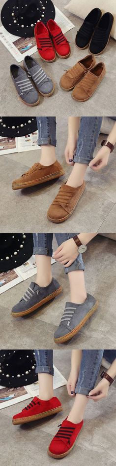 US$14.43 Suede Slip On Soft Loafershoess_ Lazy Casual Flat Shoes For Women_Lazy Flat Shoes