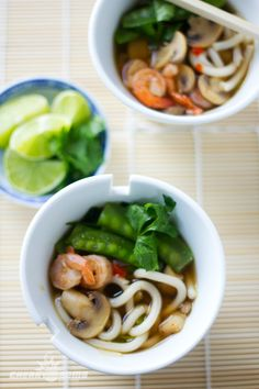 Ingredients: Udon Noodles - 200g Package Chicken Broth - 284 mL Can Water - 284 mL Mushrooms - 0.5 Cup Sliced Snap Peas - 0.5 Cup Trimmed Green Onions - 4 Stocks Sliced Shrimp Cooked - 0.5 Cup Garlic Clove - 1 Sliced Ginger - 2 Cubes Soy Sauce - 1 tbsp Lime - 1 Quartered Sriracha Sauce - To Taste Cilantro - Chopped To Taste