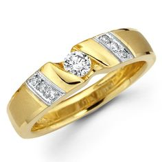 14K Yellow and White 2 Tone Gold Round-cut Diamond Women's Wedding Ring Band (0.26 CTW., G-H Color, SI1-2 Clarity) – Size 6.5 |