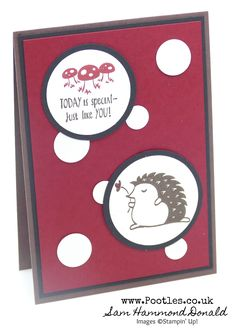 Stampin' Up! #1 Demonstrator Pootles – Toadstool Hedgehugs Card for Pootlers Team Swaps! #hedgehogs #toadstools #swaps #pootles