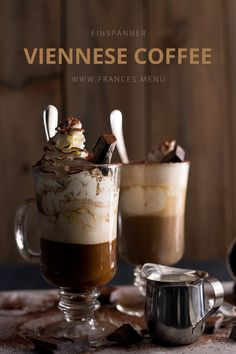 www.frances.menu Learn how to make Einspänner Coffee (Viennese Coffee). It contains two shots of espresso and lots and lots of whipped cream.