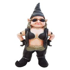 14.5 in. H Biker Babe the Biker Gnome in Leather Motorcycle Riding Gear Home and Garden Gnome Statue