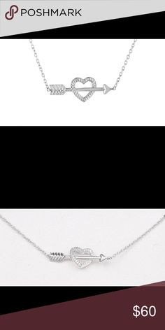 """❤️ (925) ARROW THROUGH DIAMOND HEART NECKLACE ❤️ This is a Sterling Silver (925) Arrow Through Diamond Heart Necklace. The genuine diamonds are 1/10 Ct.Tw. This is a very beautiful dainty piece. The chain measures: 16""""L with a 2""""L extender. The Heart/Arrow measure: 7/8""""L X 5/16""""W.  ⭐️ Be advised these diamonds are genuine (Real). Jewelry Necklaces"""