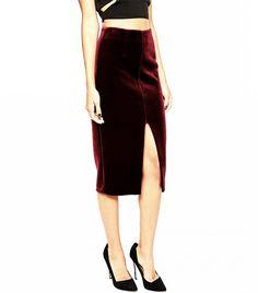 ASOS Pencil Skirt in Bonded Velvet in Oxblood