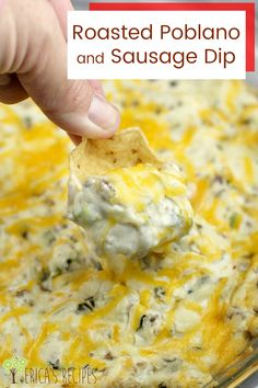 If you have ever asked what to do with poblano peppers, this is an easy recipe for with these phenomenally flavorful, but not too spicy, peppers. Roasted Poblano and Sausage Dip is a party-perfect, make-ahead hot dip. And because this is a sausage dip wit Pablano Pepper Recipe, Roasted Poblano Peppers, Stuffed Poblano Peppers, Yummy Appetizers, Appetizer Recipes, Party Recipes, Dip Recipes For Parties, Wedding Appetizers, Snack Recipes