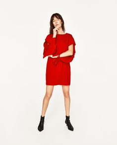 ZARA - WOMAN - DRESS WITH SLEEVE FRILL  39.90 USD COLOR: Dark charcoal grey 0264/032