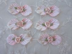 6 pc Flower Applique PINK Peach Velvet Leaf by delightfuldesigner