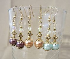 Pearl & Iridescent Crystal Dangle Earrings by Pizzelwaddels, $8.98