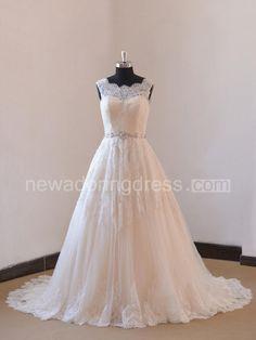 Ivory a Line Champange/Blush Lining Lace Wedding Dress With Illusion Neckline