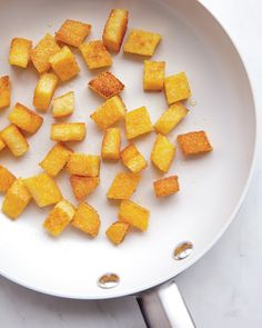 Polenta Croutons...I had these at a restaurant in Minneapolis and they were amazing!