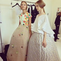 officialstyledotcom:  A pair of models in ball skirts backstage before the @officialdelpozo show #nyfw