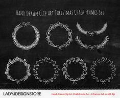 Hand drawn Clip Art Christmas Chalk Frames Set by ladyjdesignstore, $4.50