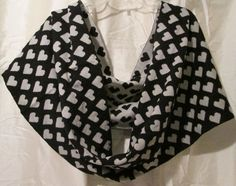 Scarf Infinity Mixit Knit Black Gray Hearts One Size Fits All  #Mixit #Scarf