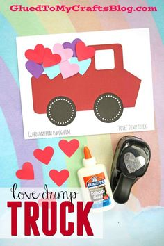 Love Dump Truck - Valentine's Day Kid Craft Idea - comes with free printable template to get you started! #KidCrafts #valentinesday #gluedtomycrafts