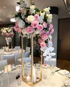 Some beautiful florals to brighten up this rainy Day 💕 Flowers by Gold Flower Stands by Wedding Table Centerpieces, Centerpiece Decorations, Flower Centerpieces, Wedding Decorations, Elegant Centerpieces, Wedding Ideas, Elegant Wedding, Floral Wedding, Wedding Flowers
