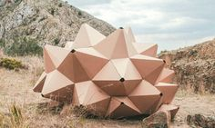 Tiny Helix Shelter made of laster-cut recycled cardboard is a temporary habitat… Temporary Architecture, Cultural Architecture, Organic Architecture, Architecture Design, Geometry Architecture, Mobile Architecture, Parametric Architecture, Amazing Architecture, Parametrisches Design