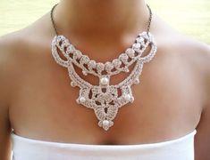 Wedding necklace crochet necklace bridal necklace by DIDIcrochet Pearl Necklace Wedding, Bridal Necklace, Crochet Collar, Crochet Lace, Vintage Jewelry, Handmade Jewelry, Crochet Wedding, Unusual Jewelry, Textile Jewelry