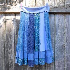 upcycled denim skirts | Upcycled Skirt Handmade Patchwork Denim Blues by ThankfulRose -- from ...