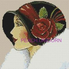 Flapper Lady in Black Cap - Art Deco Counted Cross Stitch Pattern Chart Cross Stitch Art, Counted Cross Stitch Patterns, Cross Stitch Designs, Cross Stitching, Cross Stitch Embroidery, Anchor Art, Art Deco Paintings, Cross Stitch Collection, Needlepoint Patterns