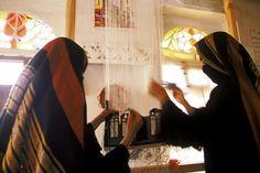 حياكة السجاد | Young Yemeni women weaving | Young Yemeni women weaving a rug at the Khansa Society Center. Bani Hushaish, Yemen