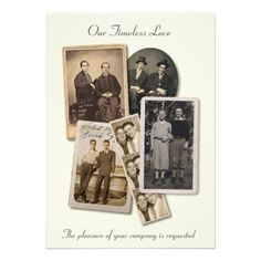 Gay wedding invitation with vintage portraits  But! I would want the pictures to be us edited to look vintage.
