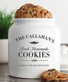 Look at this White 'Fresh Homemade Cookies' Personalized Treat Jar by Personalized Planet Personalized Cookies, Personalized Christmas Gifts, Personalized Products, Milk Cookies, Cookies Et Biscuits, Pudding Cookies, Little Presents, Famous Recipe, Homemade Cookies