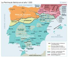 La Península hacia el año 1000 European History, Art History, Map Of Spain, Geography Map, Iberian Peninsula, Early Middle Ages, Historical Maps, Archaeology, Planer