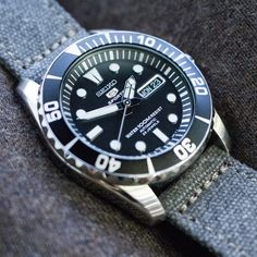 or MiLTAT Military Grey Washed Canvas Watch Band with lockstitch round hole, Polished Seiko Mod, Seiko 5 Sports, Watch Straps, Sea Urchin, Seiko Watches, Wristwatches, Watch Bands, Wwii, Omega Watch
