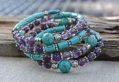 Amethyst memory wire bracelet, turquoise wrap bracelet, boho cuff, gift for her, gemstone memory wire, blue and purple bracelet by CatherineLilyJewelry on Etsy