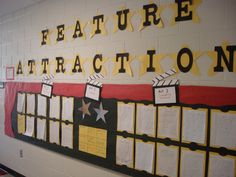 Feature Attraction Bulletin Board to motivate students. Ela Classroom, Classroom Themes, Classroom Organization, Movie Classroom, School Themes, School Fun, Middle School, School Stuff, School Ideas