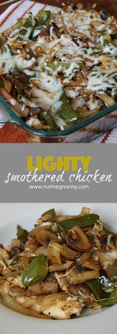 This lightly smothered chicken combines dijon mustard, chicken breast, peppers, onions and mushrooms all {lightly} smothered in cheese. Best of all this healthy dish is ready in only 30 minutes! (soft foods to eat olive oils) Healthy Dishes, Food Dishes, Main Dishes, Healthy Eating, Healthy Recipes, Chicken Breast Recipes Healthy, Baked Chicken Breast, Healthy Meals, Turkey Recipes