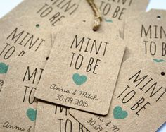 16 Personalised 'Mint to Be' Wedding Favor, Favour Tags by LittleIndieStudio on Etsy Wedding Tags, Our Wedding, Wedding Ideas, Wedding Verses, Forest Wedding, Wedding Ceremony, Wedding Favours Thank You, Party Favours, Bridal Shower Gifts
