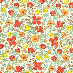 """Liberty of London Classic Collection. Approximately 53″ wide. 100% cotton, Tana Lawn. About the print """"This is another 1930s floral design. It was printed as a"""