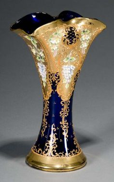 Moser Enameled Cobalt Blue Glass Vase. circa 1920