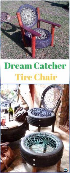 DIY Dreamcatcher Tire Chair - DIY Old Tire Furniture Ideas