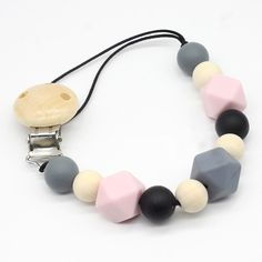 Pacifier Clip - 2 in 1 - with Teething Silicone Beads