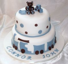 Baby Boy Cake--train along bottom?