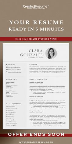Editable professional resume template that will help to get the job of your dreams faster! Easy to customize on Word and Apple Pages. Designed by an experienced CreatedResume team these resume templates will catch an eye and help you outstand from the others. #resume #resumetemplate #modernresume #resumeformat #resumedesign #resumetips #createdresume #cv #cvtemplate Executive Resume Template, Modern Resume Template, Cv Template, Resume Templates, Basic Resume, Professional Resume, Functional Resume, Microsoft Word 2007, Good Resume Examples