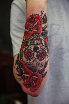 Tattoo Sasha Enaken - tattoo's photo In the style Old School, Male, Skulls, Flowe Mexican Skull Tattoos, Sugar Skull Girl Tattoo, Skull Rose Tattoos, Rose Tattoos For Men, Body Art Tattoos, Tattoos For Guys, Chicano Tattoos Sleeve, Chicano Style Tattoo, Irezumi Tattoos